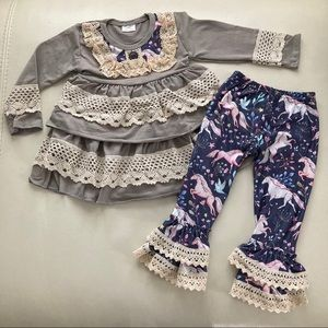 Boutique EMBROIDERED unicorn ruffle pants set